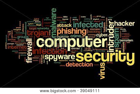 Computer security concept in word tag cloud on black background