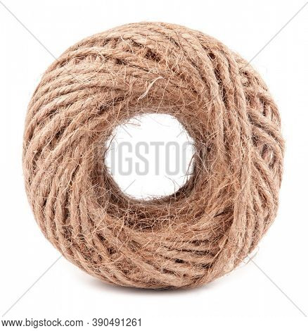 Coil of brown natural rope isolated on white background