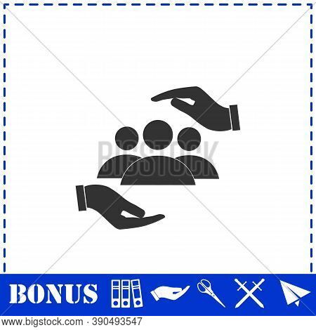 Helping Hands Icon Flat. Simple Vector Symbol And Bonus Icon