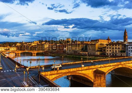 Florence , Italy - August 5 , 2020 : Florence Cityscape skyline with Arno river landmark of Tuscany Italy