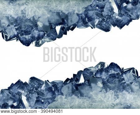 dark blue sapphire crystals isolated on white background