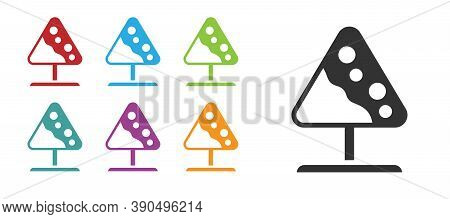 Black Road Sign Avalanches Icon Isolated On White Background. Snowslide Or Snowslip Rapid Flow Of Sn