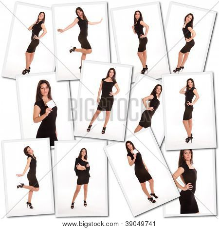 Collage with images of a female model shooting session