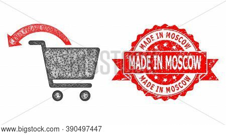 Net Refund Shopping Order Icon, And Made In Moscow Grunge Ribbon Stamp Seal. Red Stamp Seal Has Made