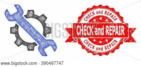 Wire Frame Repair Icon, And Check And Repair Textured Ribbon Stamp. Red Stamp Seal Includes Check An