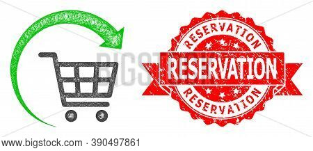 Wire Frame Repeat Shopping Cart Icon, And Reservation Textured Ribbon Stamp. Red Stamp Has Reservati