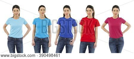 Photo Of A Woman Posing With A Blank T-shirts Ready For Your Artwork Or Design.