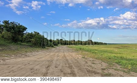 Calm Morning Landscape. The Dirt Road Is Winding And Goes Into The Distance; On The Left There Are T