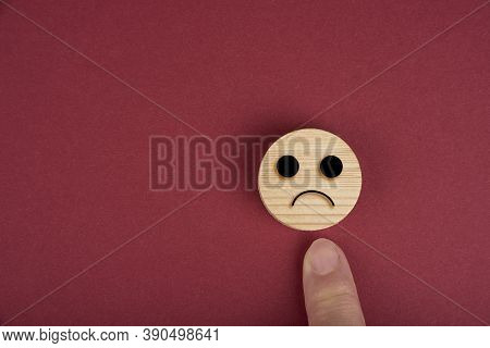 Sad Smiles On A Wood Circles On Wood On A Red