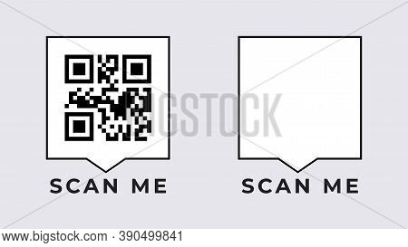 Scan Qr Mobile Banner. Empty And Filled Scope Digital Code With Technology Of Identifying Goods Onli
