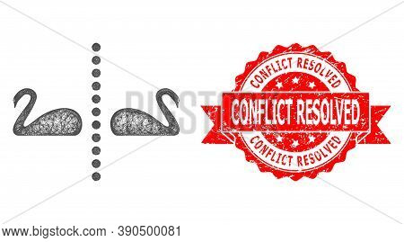Wire Frame Separate Swans Icon, And Conflict Resolved Dirty Ribbon Stamp Seal. Red Stamp Contains Co