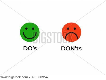 Do And Dont Smiley Icon. Joyful Green Correct And Good Event And Red Negative Impact Negatory Confir