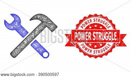 Wire Frame Service Tools Icon, And Power Struggle Textured Ribbon Stamp Seal. Red Stamp Seal Contain