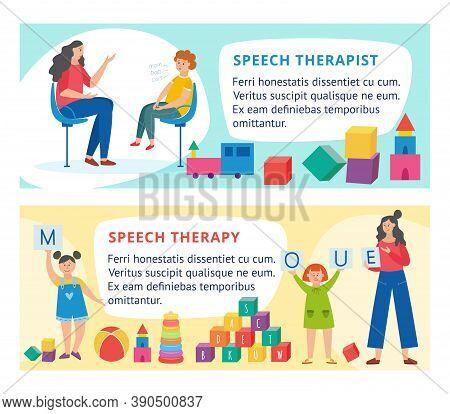 Banners With Children And Speech Therapist Teacher A Vector Cartoon Illustration