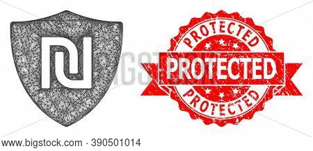 Network Shekel Guard Icon, And Protected Textured Ribbon Stamp Seal. Red Stamp Seal Has Protected Ta