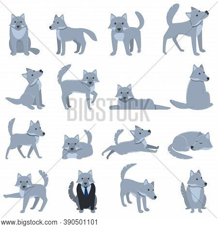Wolf Icons Set. Cartoon Set Of Wolf Vector Icons For Web Design