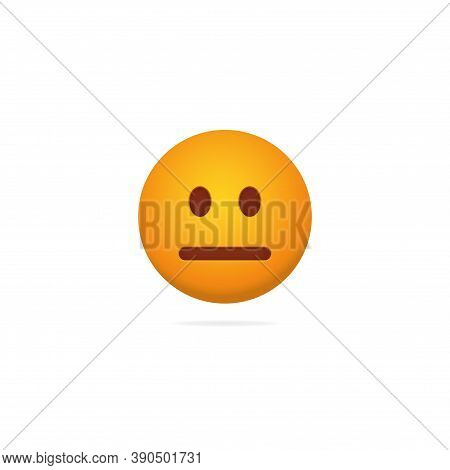Emoji Poker Face. Dispassionate Expression Of Yellow Character With Neutral Mood Expressionless Soci