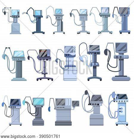 Ventilator Medical Machine Icons Set. Cartoon Set Of Ventilator Medical Machine Vector Icons For Web