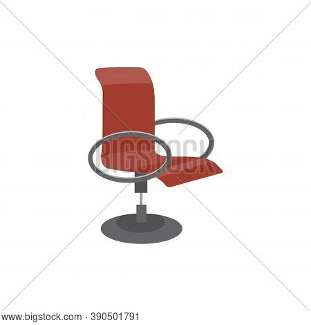 High Back Comfortable Swivel Office Chair Flat Vector Illustration Isolated.