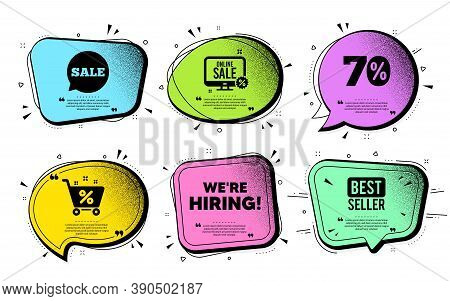 Were Hiring Symbol. Speech Bubble With Dotwork Vector. Recruitment Agency Sign. Hire Employees Symbo