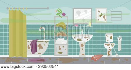 Dirty And Messy Bathroom Interior With Mud Stains Flat Vector Illustration.
