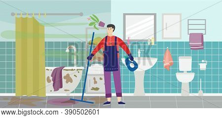 Cleaning Service Worker In Dirty Messy Bathroom Flat Vector Illustration.
