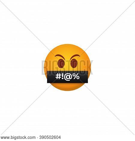 Censored Angry Emoticon. Yellow Persons With Their Mouths Closed With Black Tape Bad Message Closed