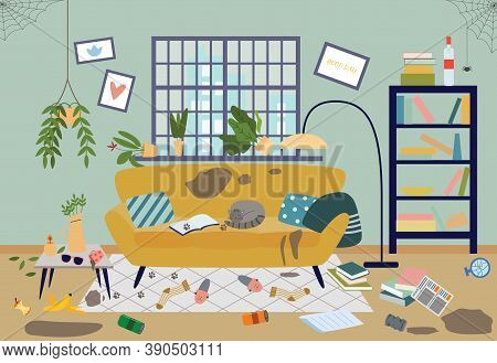 Dirty Untidy Living Room In House A Vector Flat Illustration