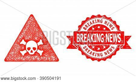 Wire Frame Skull Toxic Warning Icon, And Breaking News Unclean Ribbon Stamp Seal. Red Seal Has Break
