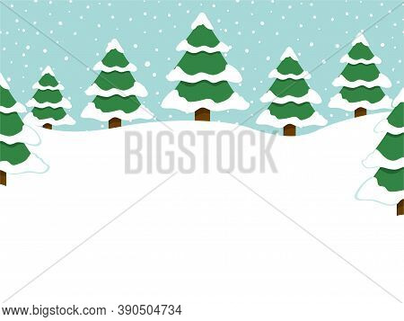 Winter Background With Empty Place For Text, Snowy Forest Landscape. Flat Vector Illustration