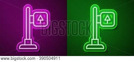 Glowing Neon Line Road Traffic Sign. Signpost Icon Isolated On Purple And Green Background. Pointer