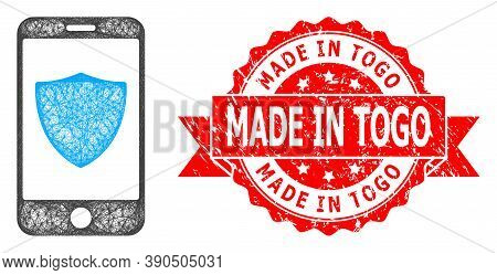 Wire Frame Smartphone Shield Icon, And Made In Togo Rubber Ribbon Seal Print. Red Seal Includes Made
