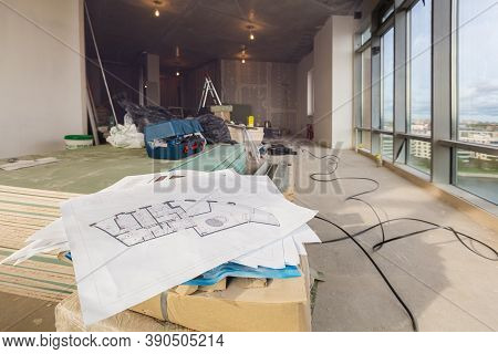 Architectural Plan With Details, Marked By Measurements, Construction And Design Details In Engineer
