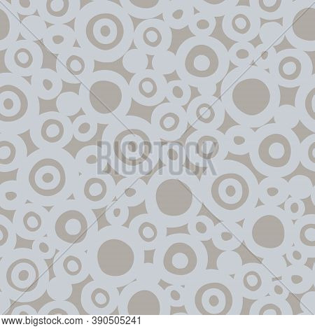 Seamless Geometric Pattern With Hand Drawn Uneven Gray Rings Of Different Size On Beige Background F