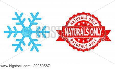 Wire Frame Snowflake Icon, And Naturals Only Grunge Ribbon Seal Imitation. Red Stamp Seal Has Natura