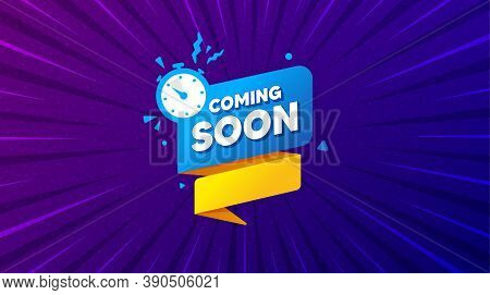 Coming Soon Paper Banner. Purple Background With Offer Message. Timer Announcement Tag. New Open Tim