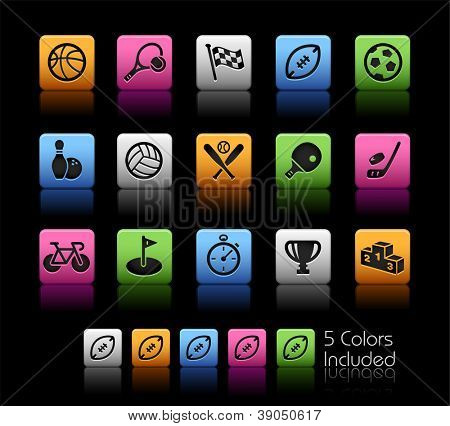 Sports Icons // Color Box------It includes 5 color versions for each icon in different layers ------