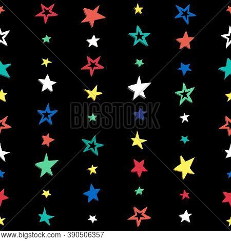 Doodle Star Confetti Seamless Pattern. Hand Drawn Stars Background. Vector Illustration For Print, T