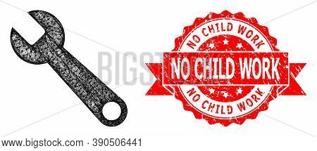 Wire Frame Spanner Icon, And No Child Work Textured Ribbon Seal. Red Seal Contains No Child Work Tex