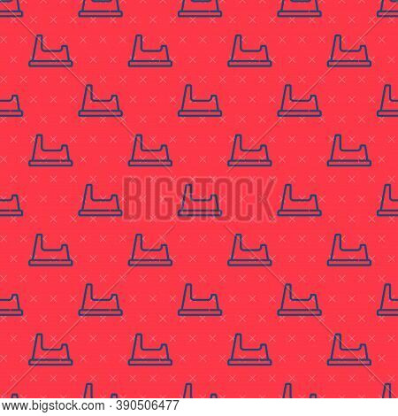 Blue Line Baby Potty Icon Isolated Seamless Pattern On Red Background. Chamber Pot. Vector