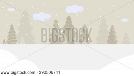Beautiful Snowy Landscape Or With Spruce Or Fir Trees Covered With Snow. Park Or Forest On Winter Se