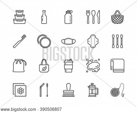 Zero Waste Products Flat Line Icon Set. Reusable Bottle, Wooden Cutlery, Metal Straw, Period Pad, Fa
