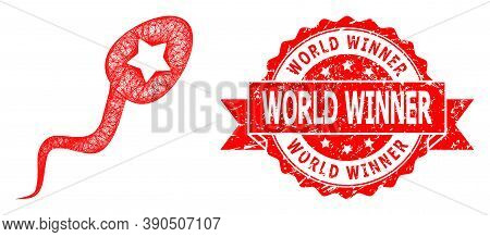Wire Frame Sperm Winner Icon, And World Winner Dirty Ribbon Stamp Seal. Red Stamp Seal Has World Win