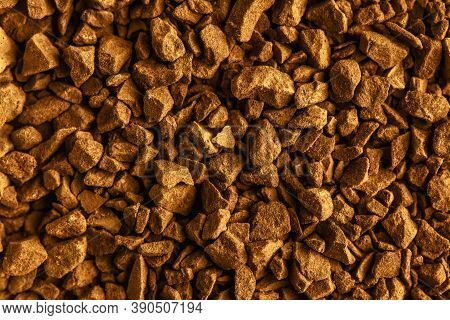 Instant Coffee Granules Texture Background. Instant Coffee Closeup