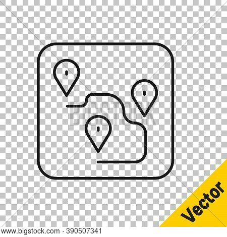 Black Line Route Location Icon Isolated On Transparent Background. Map Pointer Sign. Concept Of Path