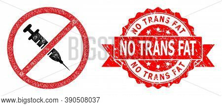 Wire Frame Stop Vaccine Icon, And No Trans Fat Textured Ribbon Stamp Seal. Red Stamp Seal Contains N