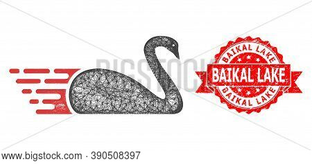 Wire Frame Swan Icon, And Baikal Lake Scratched Ribbon Seal Imitation. Red Seal Includes Baikal Lake