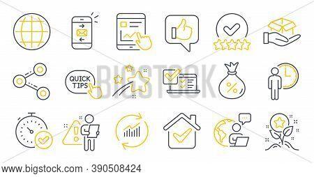 Set Of Technology Icons, Such As Loyalty Points, Share, Loan Symbols. Globe, Quick Tips, Update Data