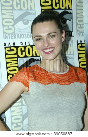 SAN DIEGO, CA - JULY 15: Katie McGrath arrives at the 2012 Comic Con convention press room at the Bayfront Hilton Hotel on Sunday, July 15, 2012 in San Diego, CA.