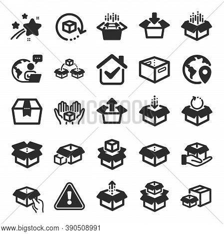 Box Icons. Package, Delivery Boxes, Cargo Box. Cargo Distribution, Export Boxes, Return Parcel Icons